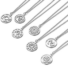2019 316L Stainless Steel 7 Chakra Yoga Charm Necklace Gold Silver Tone Mandala Lotus Pendant Long Chain Initial Gifts