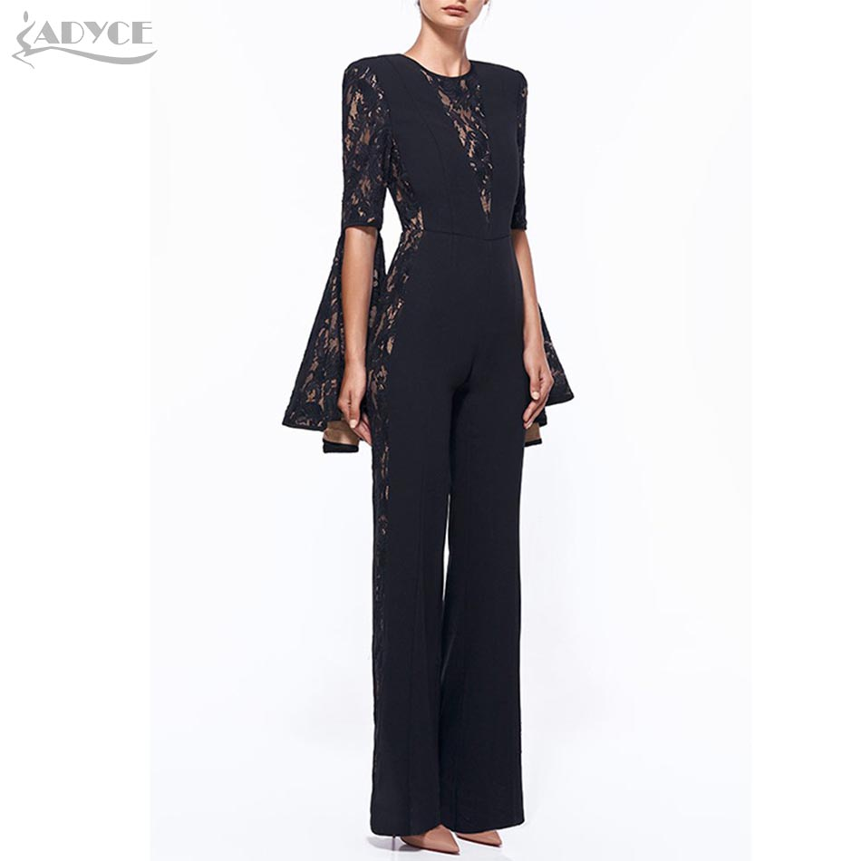 Aliexpress.com  Buy Adyce 2018 New Arrival Women Jumpsuit Sexy Flare Sleeve O Neck Lace Long ...