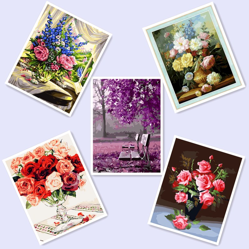 DIY Flower Painting By Numbers On Canvas DIY HandPainted Pictures For Home Decor Christmas Gift Coloring By Number BM08