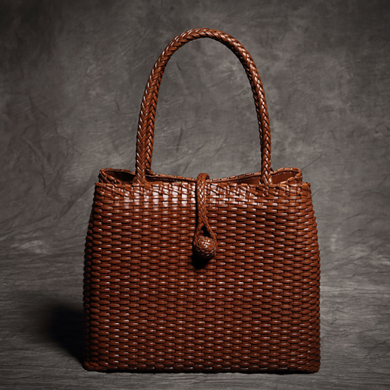 Casual Lady Tote High Capacity Handmade Genuine Leather Top-handle Bags Woven Pattern Leather Handbag Women Summer Trave Bag large capacity tote lady top handle bags 2018 handmade genuine woven leather luxury shell handbags women composite bags