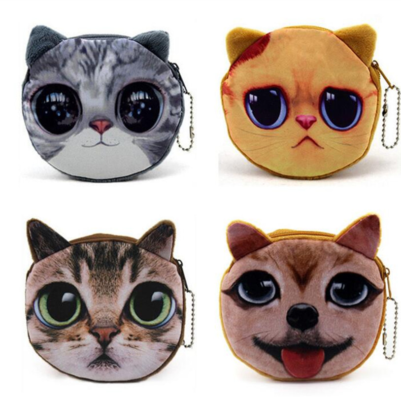 M050 Cartoon Women Purses Coin Wallet Children Many Styles 3D Cute Cat Dog Face Female Money Storage Pouch Women Zipper Coin Bag new cute cat face printed zipper coin purses for kids students pencil case cartoon wallet bag coin pouch children purse holder