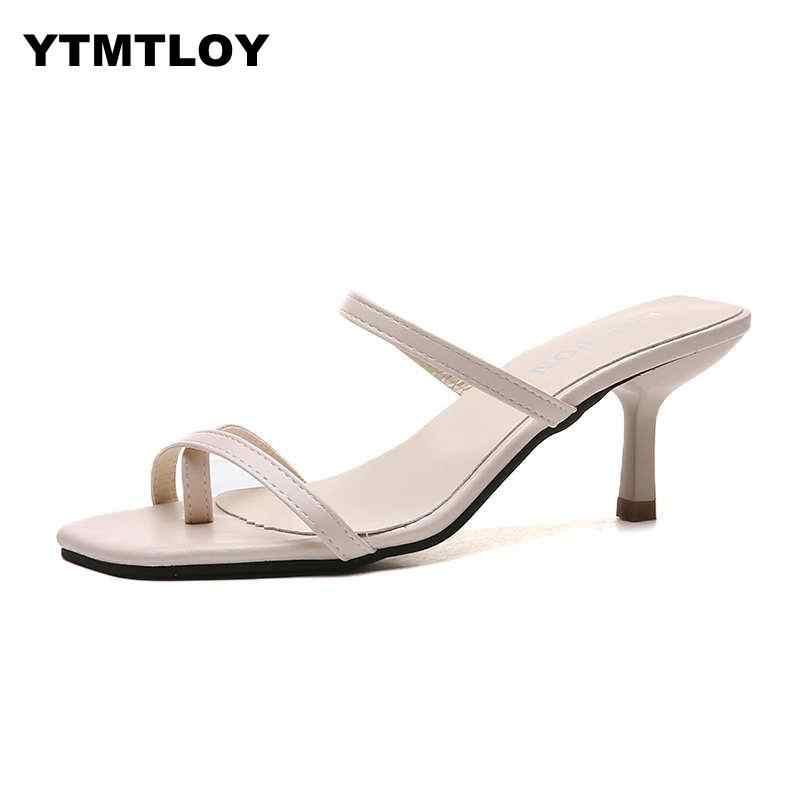 Beyaz Yüksek Topuklu Sandalet Için Yaz Dar Bant Topuk Eski Kare Ayak Muhtasar Bayanlar Shes Parti Sarı Sandalet Gladyatör