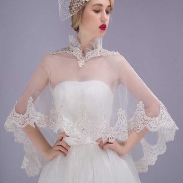 a7cd2dac78a Hot Sale Bolero For Prom Bridal Dresses Shawl Sleeves Bridal Wraps Alencon  Lace Applique Beading Bridal