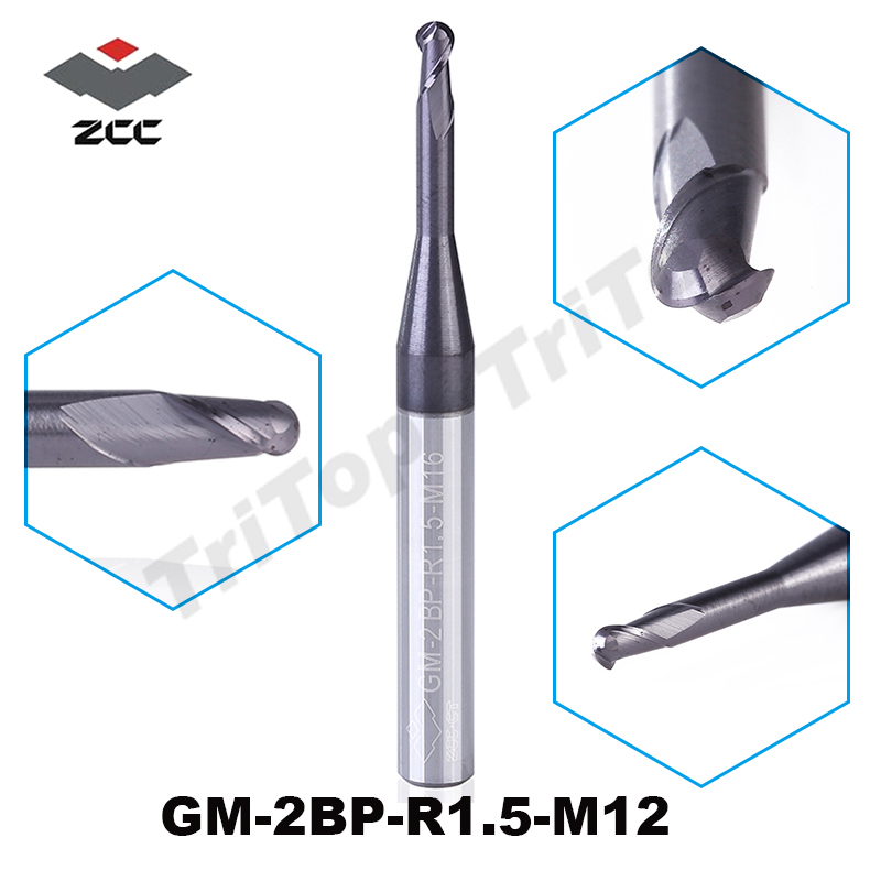 5PCS/LOT ZCC.CT  GM-2BP-R1.5-M12  Free shipping ball nose Spiral Bit Milling cutter Tool CNC solid Carbide End mill Router bits 7pcs lot r0 5 r1 r1 5 r2 r2 5 r3 r4 hrc45 2 flutes ball nose end mill spiral bit milling cutter tools cnc router bits knife