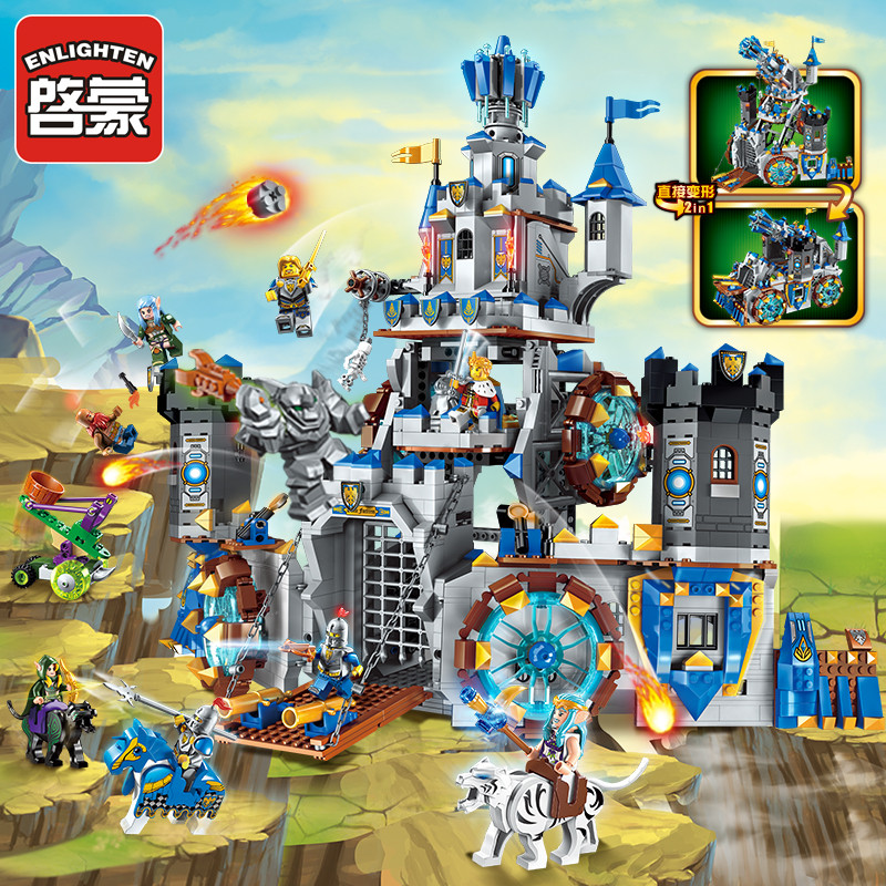 Enlighten Building Block War of Glory Elves Castle Knights The Battle Bunker 9 Figures 1541pcs Educational Bricks Toy Boy-No Box enlighten new 2315 656pcs war of glory castle knights the sliver hawk castle 6 figures building block brick toys for children