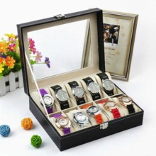 Hot High Quality 10 Grids PU Leather Watch Box Case Professional Holder Organizer for Watches Jewelry Boxes Display gift 1 pcs gm320 laser lcd digital ir infrared thermometer temperature meter gun point 50 330 degree non contact thermometer