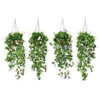 Dekorative Künstliche Morning Glory Blumen Korb Gefälschte Pflanzen Blume Gras Blätter Artificials DIY Garten Hochzeit Dekoration