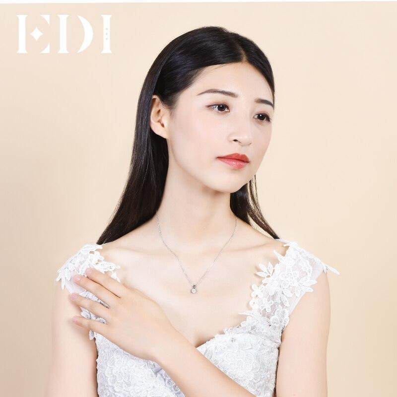 EDI Classic Real Natuurlijke Diamanten Hanger Ketting Voor Vrouwen 18K Solid White Gold Diamond Met 16' Ketting Ketting Wedding sieraden - 5
