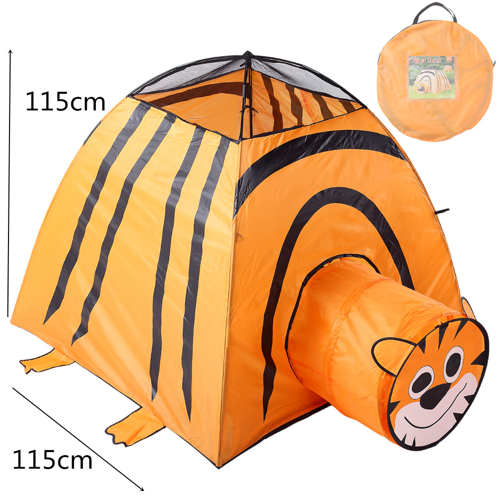 YARD 2 in 1 Tiger Indoor Outdoor Play Tent Tunnel Tent Kid Children Playhouse Indoor Kid Tent new arrival indoor outdoor large children s house game room children s toys 3 in 1 square crawl tunnel folding kid play tent