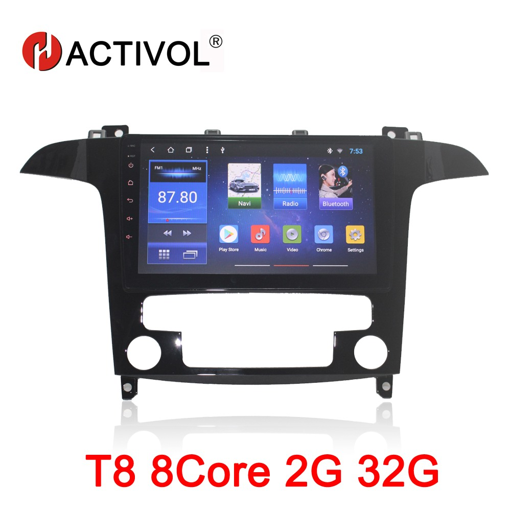 HACTIVOL 9 Octa Core 2g RAM 32g Voiture dvd gps navigation pour Ford S-max S max 2007-2008 Android 8.1 voiture radio stéréo wifi carte