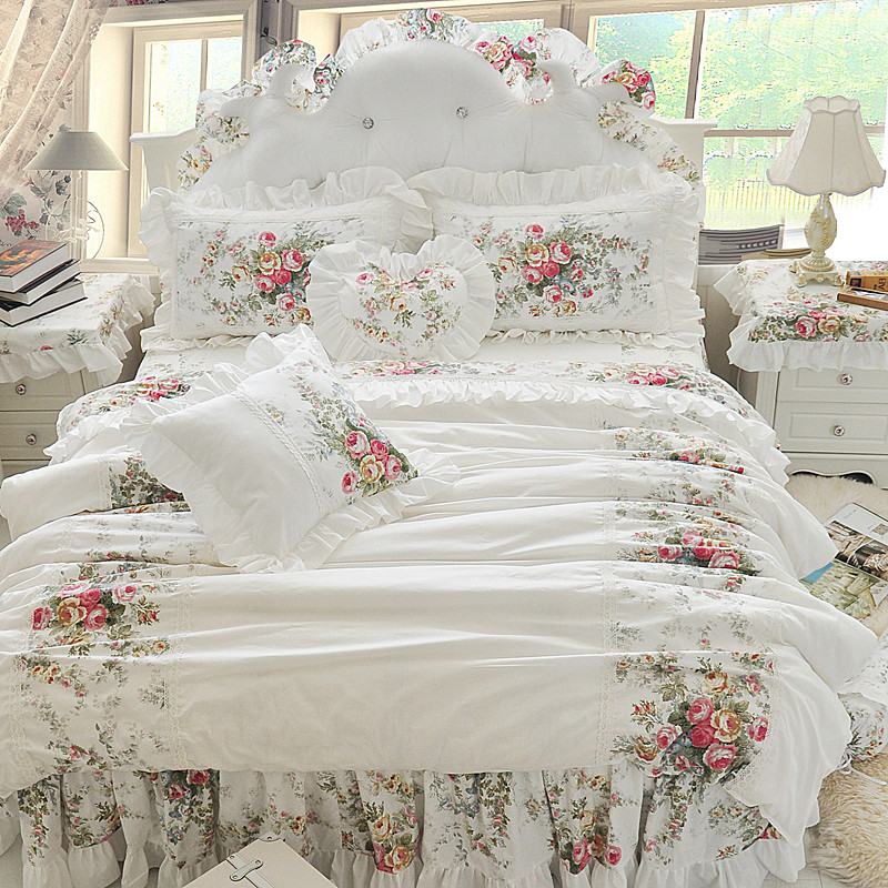 4/6/8 Pcs Luxury 100% Cotton Wedding Bedding Set King Queen Twin Size Boho duvet cover set Bed skirt set Pillowcases/Shams
