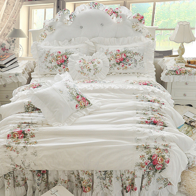 4/6/8 Pcs Luxury 100% Cotton Wedding Bedding Set King Queen Twin Size Boho duvet cover set Bed skirt set Pillowcases/Shams