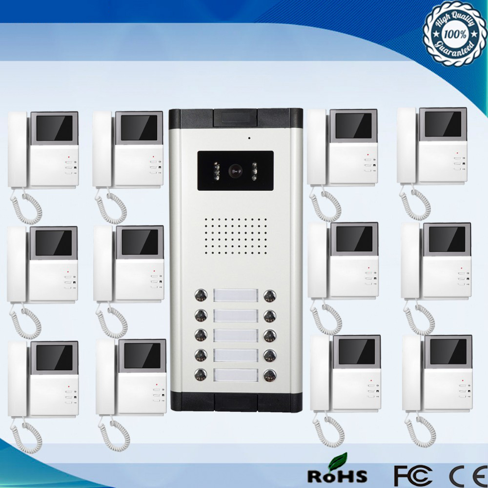 High Definition Camera Multi Apartment Video Door Phone Intercom System 1 With 12 Monitors In From Security Protection On