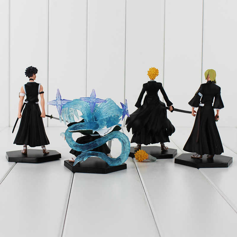 4 pçs/lote BLEACH Kurosaki Ichigo PVC Figura Brinquedos Modelo Dolls Crianças Presentes Coleções 9.5-12 cm NENHUMA CAIXA