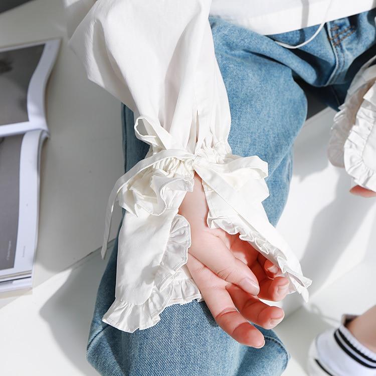 Nuevo 2017 Completa Mujeres ol Otoño Retro nudo Las Mujer Del Vendaje Z059 Manga Arco Encaje Camisa De Blanco La Farol White Invierno Blusa 4t4AwqdxZ