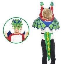Специальный Зеленый костюм динозавра хвост и крылья маска мальчик темы ролевые игры на день рождения Рождественские подарки костюм динозавра хвост
