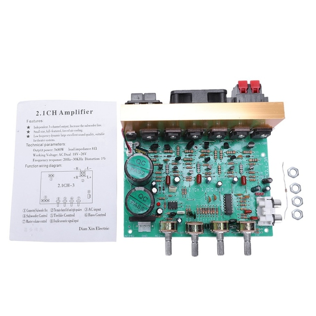 Audio Amplifier Board 2.1 Channel 240W High Power Subwoofer Amplifier Board Amp Dual Ac18-24V Home Theater 1