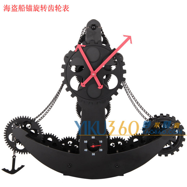 US $305 8 |Wonderful carved pirate ship gear clock creative retro table  clock anchor bare metal , wrought iron ornaments personalized gear on