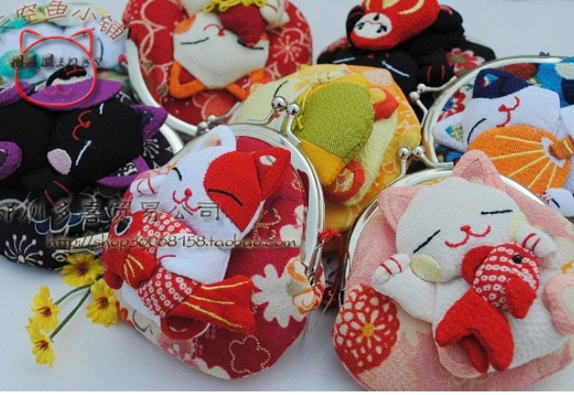 Wholesale, Japanese style,Lucky cat coin purses,coin bags,Zero Wallet,Japanese kimono fabric 16pcs/lot