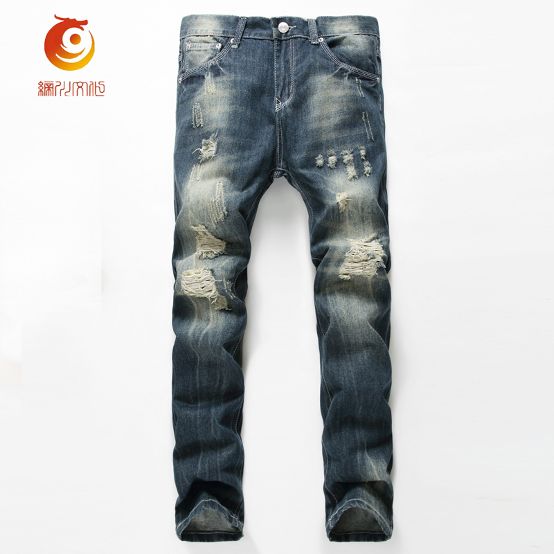 ФОТО Casual Men Hole Jeans 2017 Spring Ripped Jeans Beggars Slim fit Men Jeans denim Pants Distressed Ripped denim Jeans Runway Jeans