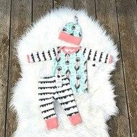 3pcs Ins Designer Baby Beanies Hat Long Sleeve T Shirt Top Pp Harem Pants Cute Baby