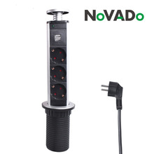 Novado 16A PULL POP UP 3 Power Socket 2 USB Charging Port Kitchen Table Desktop Sockets Retractable Countertops Worktop EU Plug цены онлайн