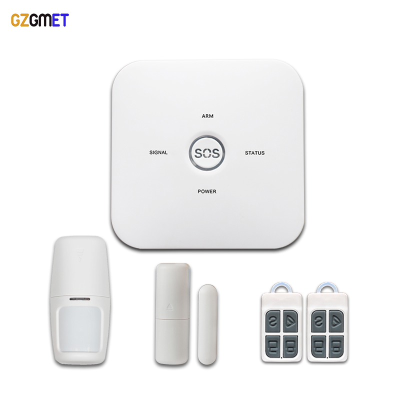 GZGMET GSM Alarm Host Home Burglar Security Wireless Sensor System Remote Control Andriod IOS APP  SOS Emergency wireless smoke fire detector for wireless for touch keypad panel wifi gsm home security burglar voice alarm system