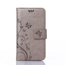 Cinza embossing slot para cartão de carteira de couro pu fique capa flip case para htc m8 mini caso