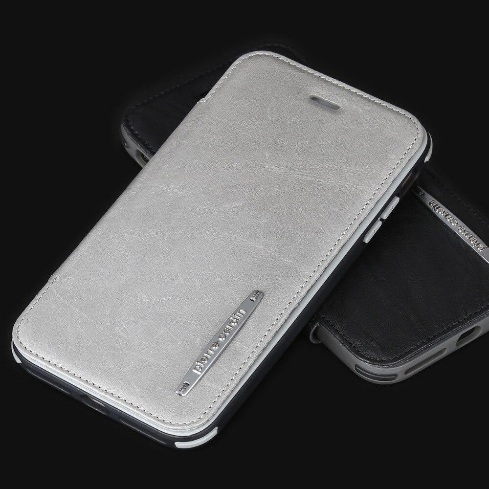 Pour iPhone 8 8plus 7 7plus Pierre Cardin coque de téléphone portable en cuir véritable support amovible étui souple en Gel de silice
