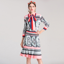 High Quality Women Runway Set 2017 New Autumn Women's Two Piece Clothing Set Vintage Print Top and Pleated Skirt Suit Set