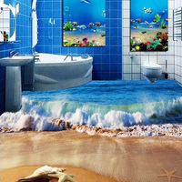 Custom 3D Photo Floor Wallpaper 3D Stereoscopic Bathroom Floor PVC Wall paper Self adhesive Dolphin Seaside Wave And Shell Mural