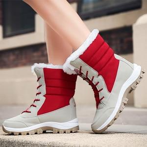 Image 5 - 防水雪の靴冬暖かいフラット足首bota ş 抗女性のスニーカーzapatos mujerビッグサイズ42