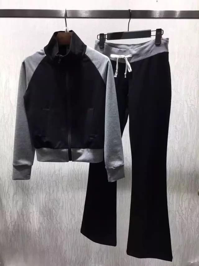 2017 en najaar damesmode kleur blok jas en flare broek twee pakken set-in Sets voor dames van Dames Kleding op  Groep 1