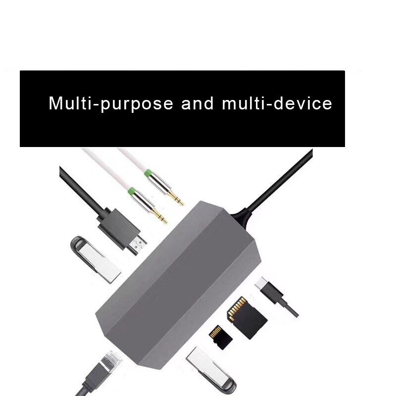 9 En 1 USB tipo C USB 3,1 Hub de vídeo HDMI de 4 K HD RJ45 Ethernet SD TF lector de tarjeta de carga muelle XXM8 - 4
