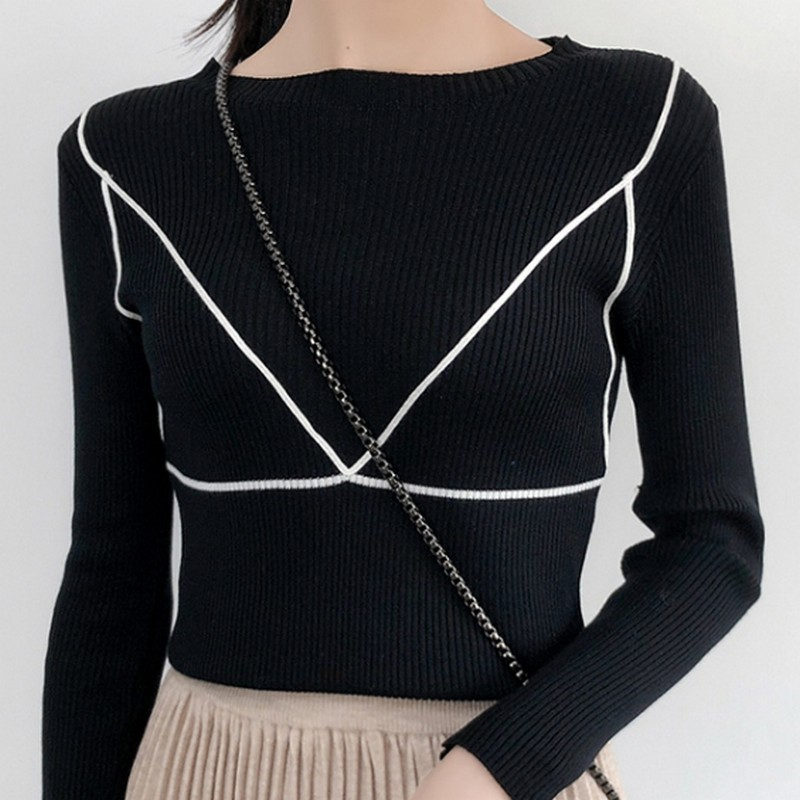 3 Colors Sweater Woman Autumn 2019 Plus Size Casual Knitting Pullover Fashion Slim Office Lady Sweaters