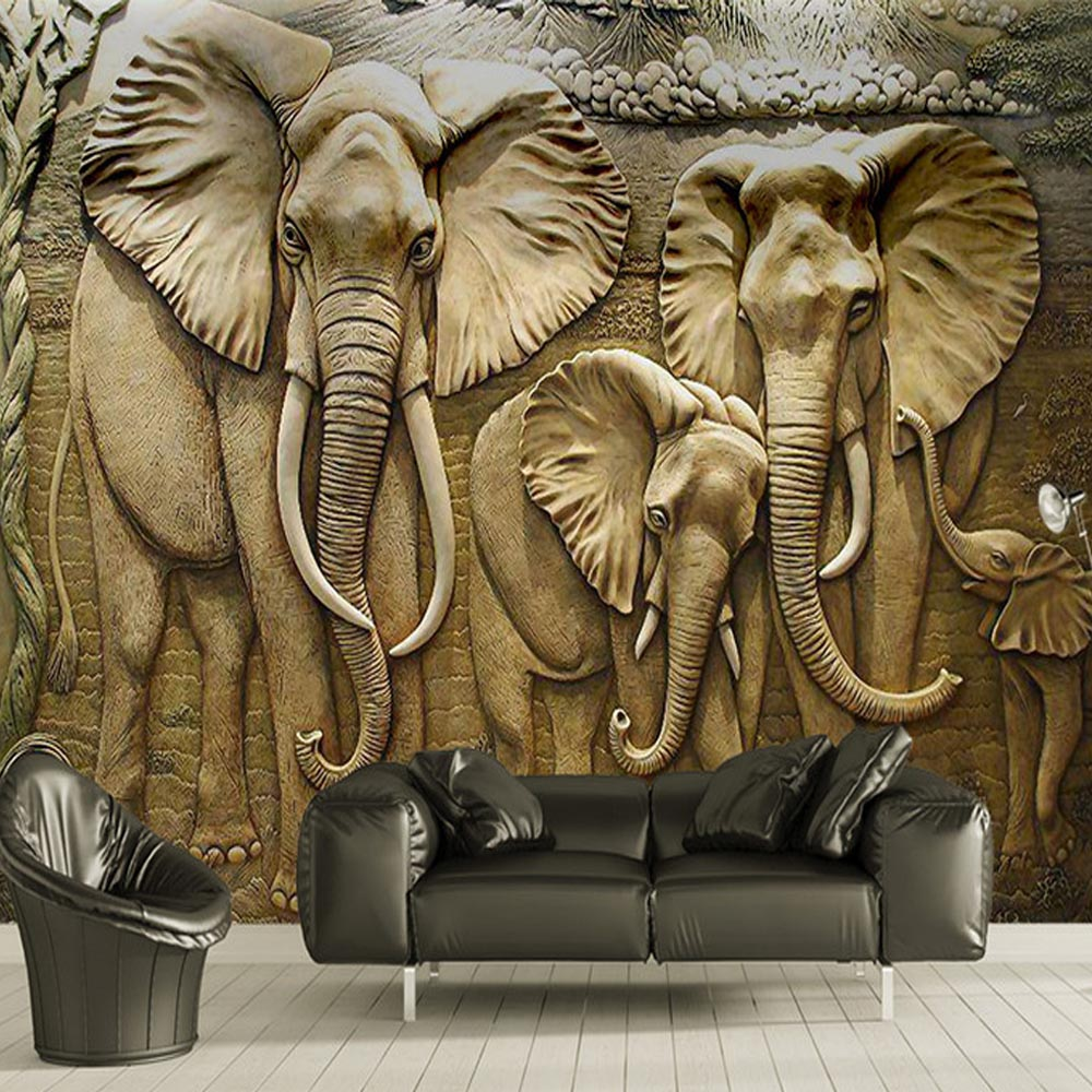 3D Elephant Wallpaper Murals For Living Room Wall Art