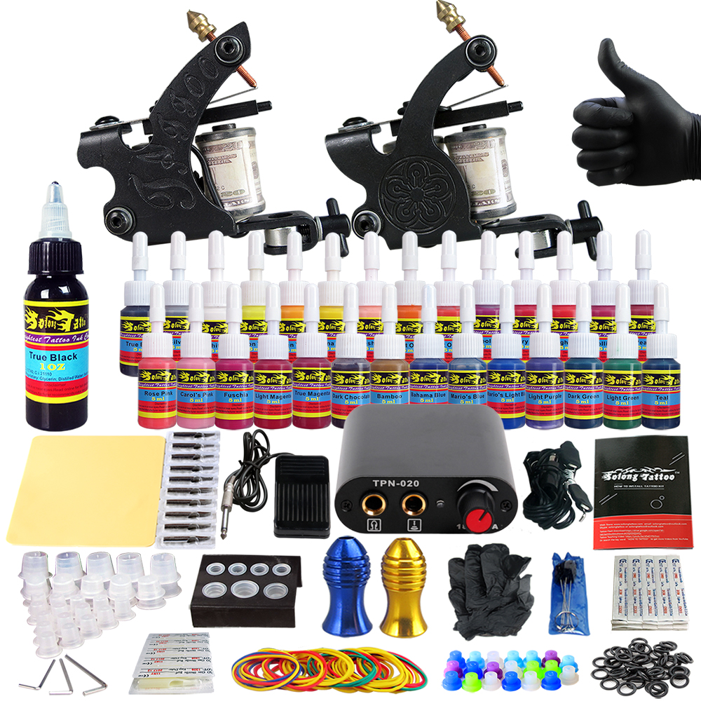 Solong Tattoo complete professional 2 tattoo Machine Guns set Tattoo Kit 28 Inks Needle Grips power supply TK204-40 europe god of darkness robert recommend gp self lock grips gp3 professional tattoo artist grip