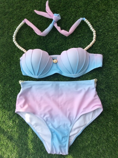 Hot Women Mermaid High Waisted Shell Bikini With Pearl Straps Swimsuit Push up Padded Sexy Bra Bathing Suit Swimwear Set