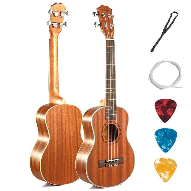 Ukulele Acoustic Electric Tenor 26 Inch Guitar 4 Strings Ukelele Guitarra Handcraft Wood White Guitarist Mahogany Plug-in Uke