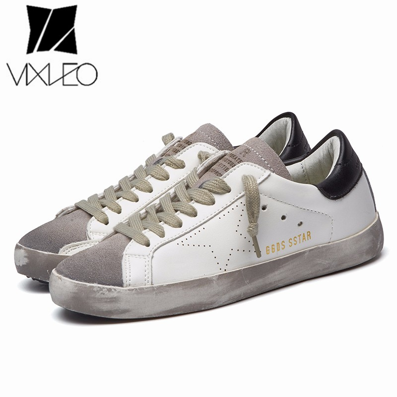VIXLEO Italy Designer Golden pu leather Casual Men trainers super Star dirty Goose Shoes Footwear Zapatillas basket femme 36-44 tba brand designer 2018 italy golden genuine leather casual women shoes trainers goose star breathe shoes footwear zapatillas