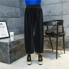 New fashion Europe and America big size women's clothing 300 pounds, can wear cool fold, elastic waist seven broad leg pants 223
