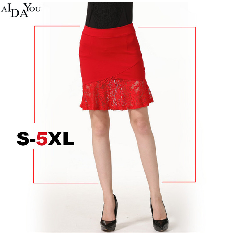 Plus Size <font><b>5xl</b></font> Lace hem Pencil <font><b>Skirts</b></font> Womens lady <font><b>sexy</b></font> Stretchy Bodycon over hip women <font><b>Skirt</b></font> summer for work big size ouc694 image
