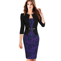2016 Hepburn Spring Fashion Woman Lace Three Quarter Sleeve Slim Hip One Piece Dress Slim Faux