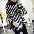 2016 new hot women's autumn winter lantern sleeve turtleneck loose knit sweaters coat woman big yards thick striped pullovers