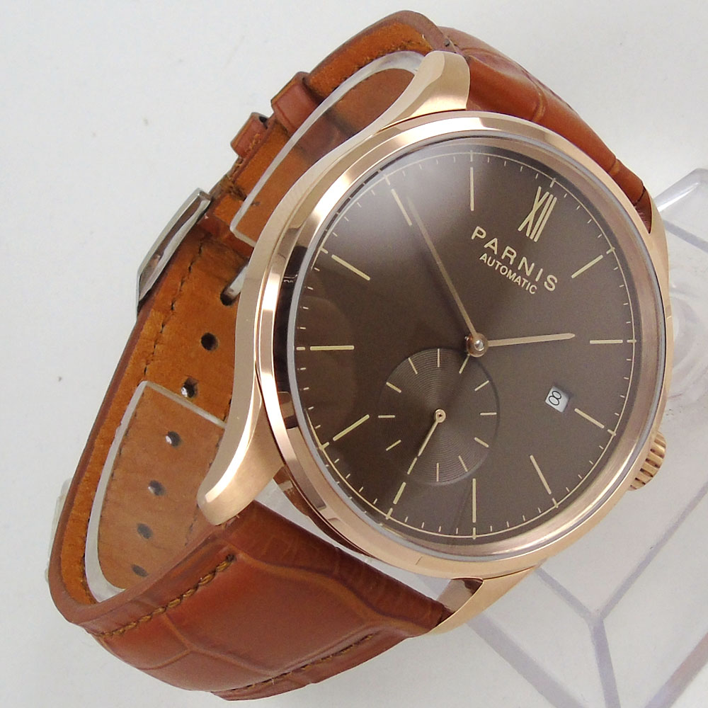 42mm parnis Brown dial Leather strap Date window Rose Golden Plated Case Roman Numerals Seagull Automatic Mechanical men's Watch roman numerals dial artificial leather watch