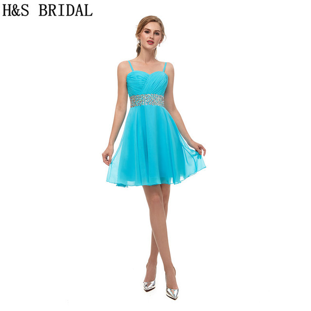 H S BRIDAL evening dress short Chiffon Pleated Prom Dresses With Spaghetti Strap Beaded short evening dress robe de soiree