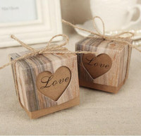 50pcs Lot Romantic Heart Candy Box For Wedding Decoration Vintage Kraft Wedding Favors And Gifts Box