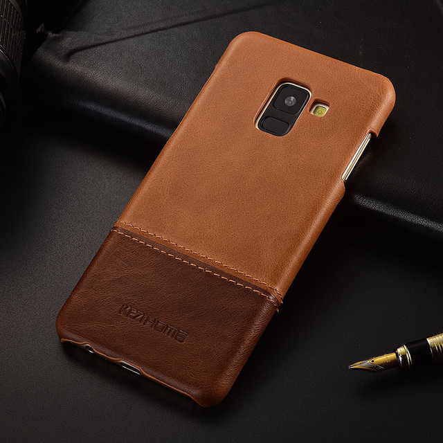 new arrivals ba9ad 52943 US $11.98 |Aliexpress.com : Buy Luxury brand thin vintage genuine leather  back cover case For Samsung galaxy A8 plus 2018 phone cases and covers  shell ...