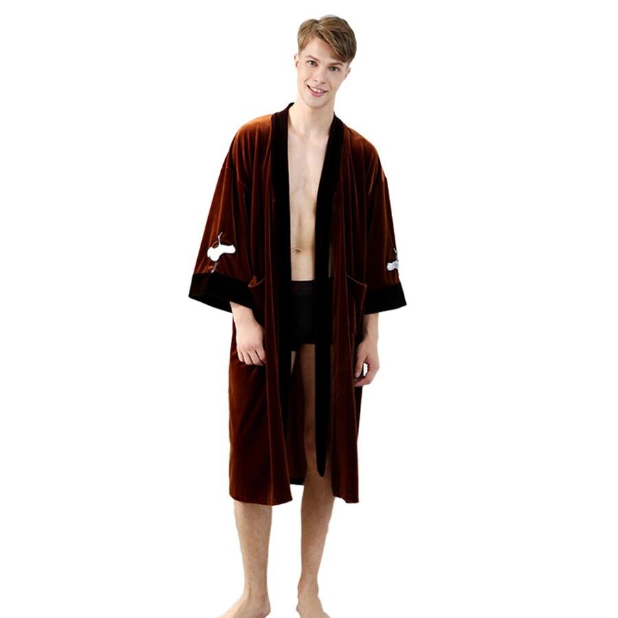 Long Men Robe Velvet Mens Cardigans Bata Hombre Sleepwear