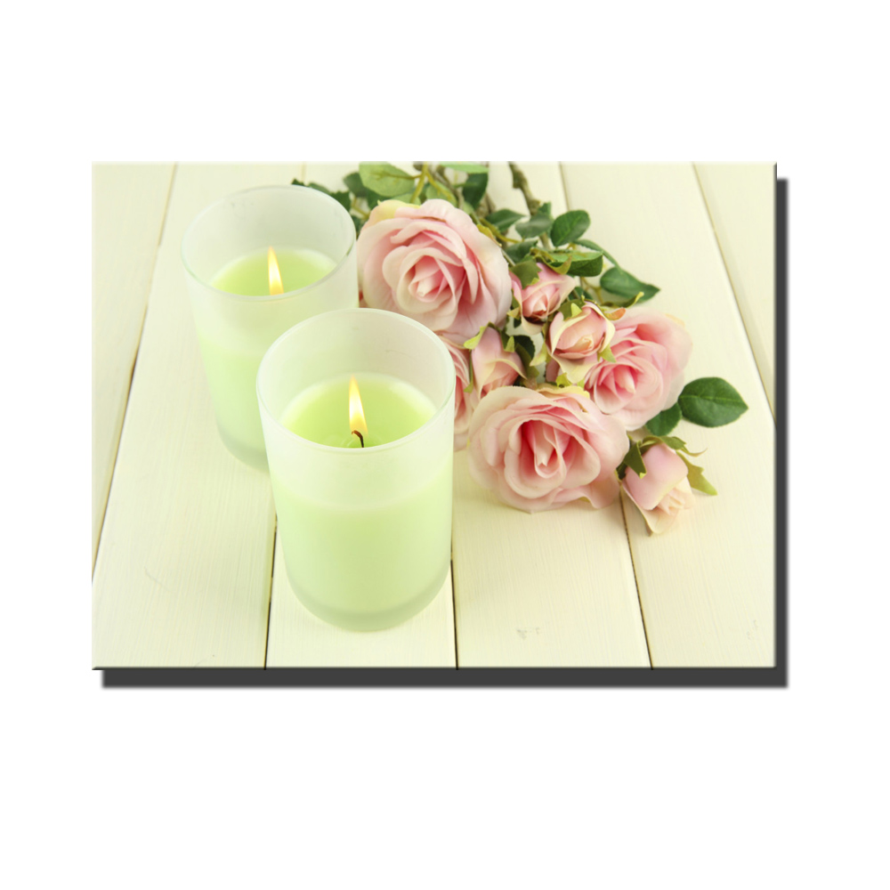 led canvas art love bouquet of pink roses with candles Wall ART ...